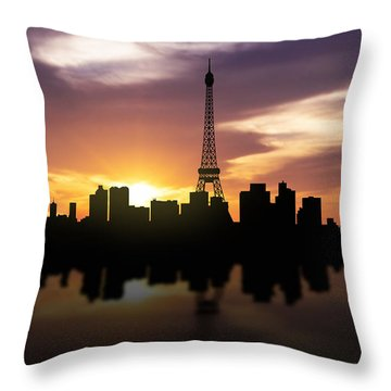 Paris France Sunset Skyline  Throw Pillow by Aged Pixel