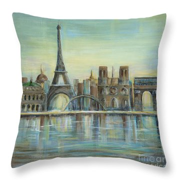 Paris Highlights Throw Pillow by Marilyn Dunlap