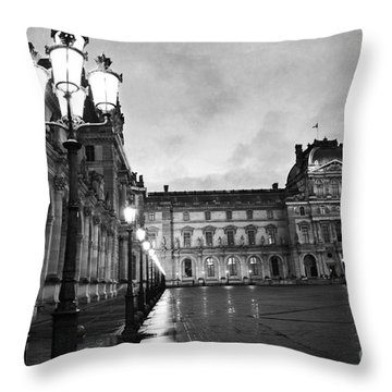 Paris Louvre Museum Lanterns Lamps - Paris Black And White Louvre Museum Architecture Throw Pillow by Kathy Fornal