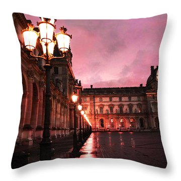 Paris Louvre Museum Night Architecture Street Lamps - Paris Louvre Museum Lanterns Night Lights Throw Pillow by Kathy Fornal