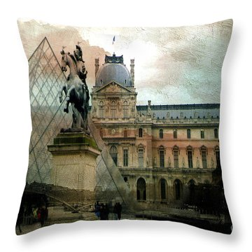 Paris Louvre Museum Pyramid Architecture - Eiffel Tower Photo Montage Of Paris Landmarks Throw Pillow by Kathy Fornal