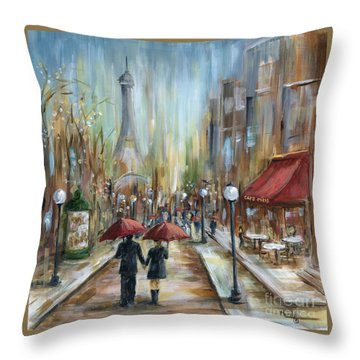 Paris Lovers Ill Throw Pillow by Marilyn Dunlap