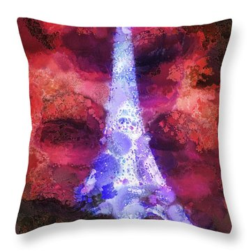 Paris Night Throw Pillow by Mo T