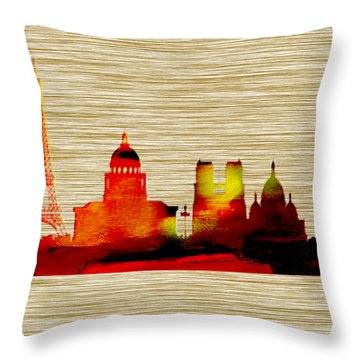 Paris Skyline Throw Pillow by Marvin Blaine