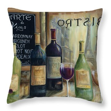 Paris Wine Tasting Throw Pillow by Marilyn Dunlap