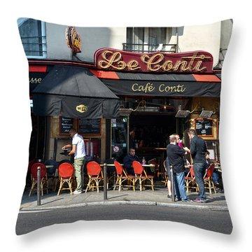 Parisian Cafe Le Conti Throw Pillow by RicardMN Photography