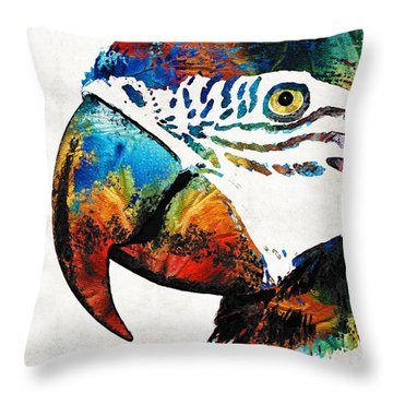 Parrot Head Art By Sharon Cummings Throw Pillow by Sharon Cummings
