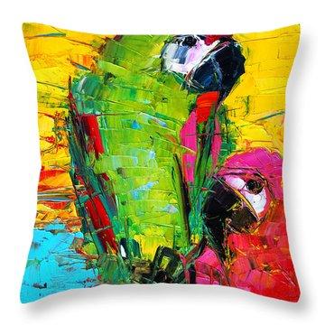 Parrot Lovers Throw Pillow by Mona Edulesco