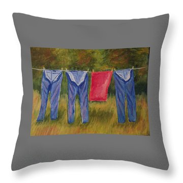 Pa's Trousers Throw Pillow by Belinda Lawson
