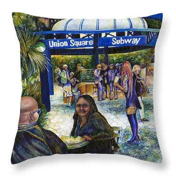 Passionate People Playing In The Park Throw Pillow by Gaye Elise Beda