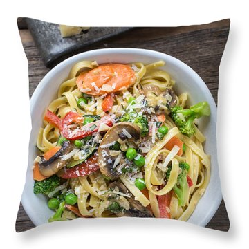 Pasta Primavera Dish Throw Pillow by Edward Fielding