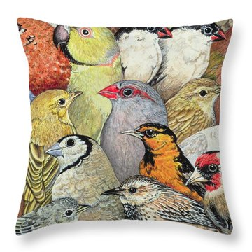 Patchwork Birds Throw Pillow by Ditz