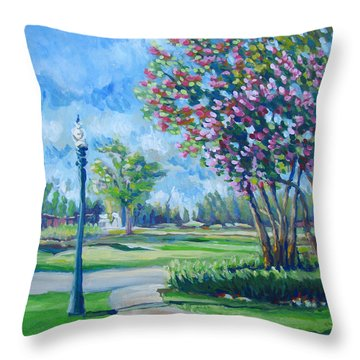 Path With Flowering Trees Throw Pillow by Vanessa Hadady BFA MA