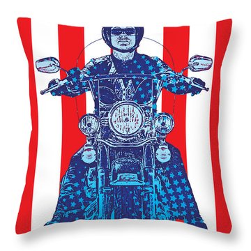 Patriotic Cycle Rider Throw Pillow by Gary Grayson