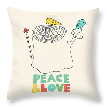 Peace And Love Throw Pillow by Eric Fan