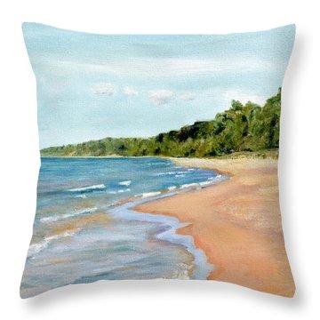 Peaceful Beach At Pier Cove Throw Pillow by Michelle Calkins