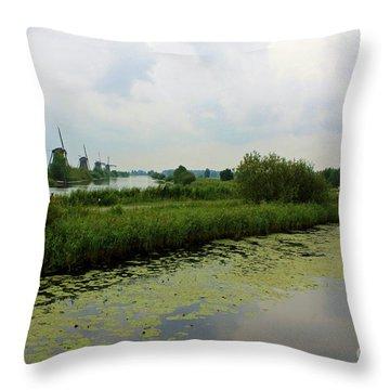 Peaceful Kinderdijk Throw Pillow by Carol Groenen