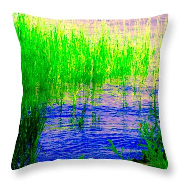 Peaceful Stream  Quebec Landscape Art Tall Grasses At The Lakeshore Waterscene Carole Spandau Throw Pillow by Carole Spandau