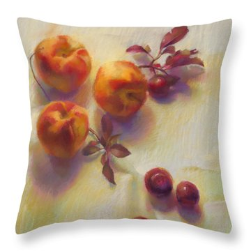 Peaches And Plums Throw Pillow by Cathy Locke