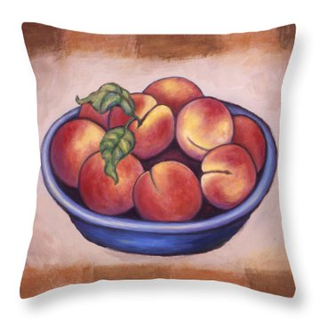 Peaches Throw Pillow by Linda Mears