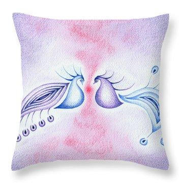 Peacock Dance Throw Pillow by Keiko Katsuta