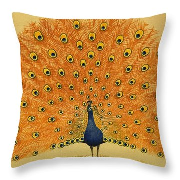 Peacock Throw Pillow by English School