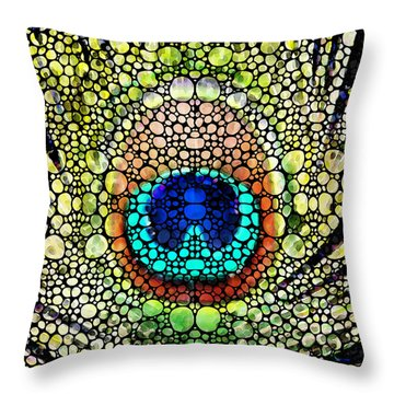 Peacock Feather - Stone Rock'd Art By Sharon Cummings Throw Pillow by Sharon Cummings