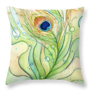 Peacock Feather Watercolor Throw Pillow by Olga Shvartsur