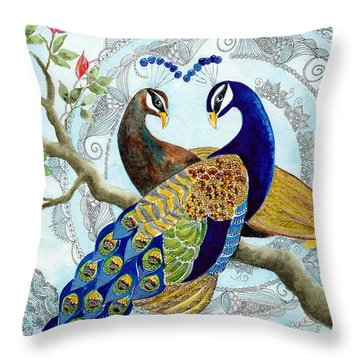 Peacock Love Throw Pillow by Susy Soulies