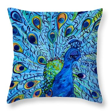 Peacock On Blue Throw Pillow by Eloise Schneider