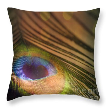 Peacock Party Throw Pillow by Jan Bickerton