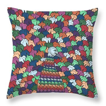 Peacock Plumage Throw Pillow by Susie WEBER