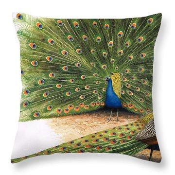 Peacocks Throw Pillow by RB Davis