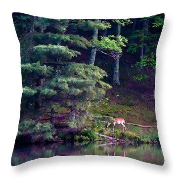 Peaks Of Otter Deer Throw Pillow by John Haldane