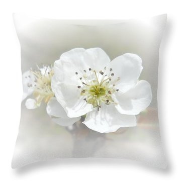 Pear Blossom Throw Pillow by Judy Hall-Folde