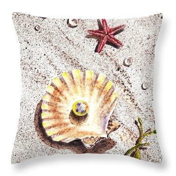 Pearl In The Seashell Sea Star And The Water Drops Throw Pillow by Irina Sztukowski