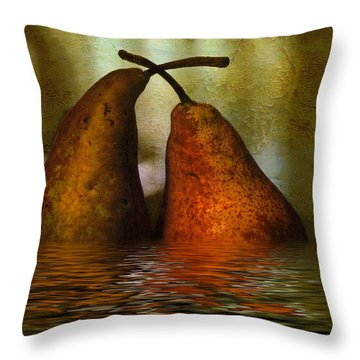 Pears In Water Throw Pillow by Kaye Menner
