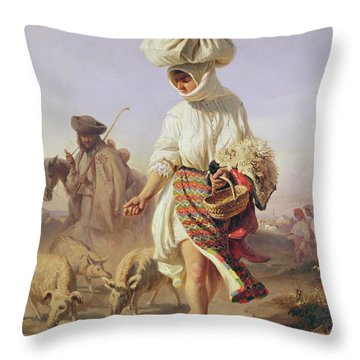 Peasant Girl Feeding Pigs Throw Pillow by Karoly Sterio