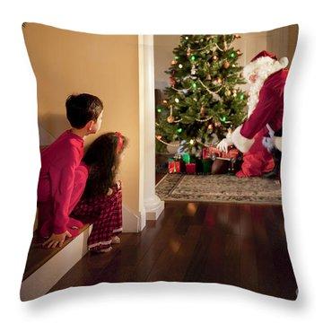 Peeking At Santa Throw Pillow by Diane Diederich