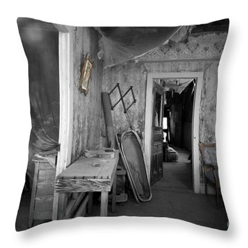 Peeking In The Old Mortuary Throw Pillow by Cheryl Young