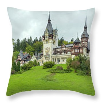 Peles Castle In The Carpathian Throw Pillow by Panoramic Images