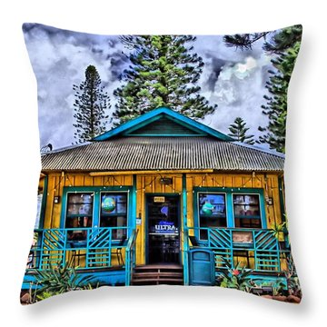 Pele's Lanai Island Hawaii Throw Pillow by DJ Florek