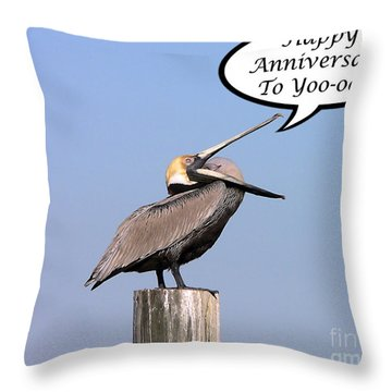 Pelican Anniversary Card Throw Pillow by Al Powell Photography USA
