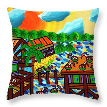 Pelican Convention Cedar Key Throw Pillow by Mike Segal