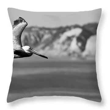 Pelican In Black And White Throw Pillow by Sebastian Musial