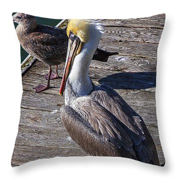 Pelican On Dock Throw Pillow by Garry Gay