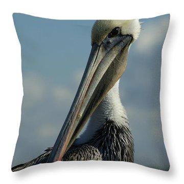 Pelican Profile Throw Pillow by Ernie Echols