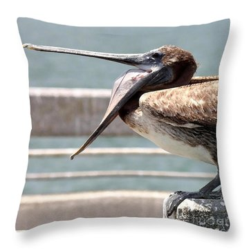 Pelican Yawn - Digital Painting Throw Pillow by Carol Groenen