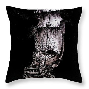 Pen And Ink Drawing Of Ghost Boat In Black And White Throw Pillow by Mario Perez