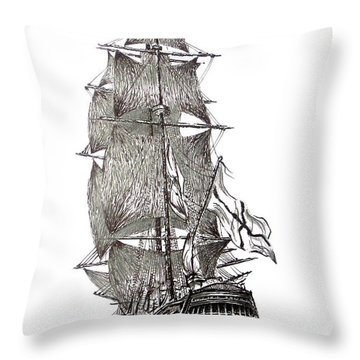 Pen And Ink Drawing Of Sail Ship In Black And White Throw Pillow by Mario Perez